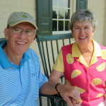 Steve and Martha on front porch of Mount Vernon on their 47th wedding anniversary