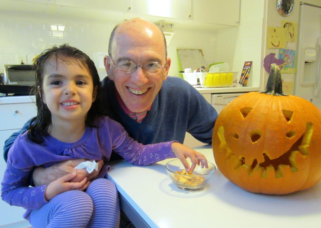 Violet, Granddad and Mr. Jack O'Lantern