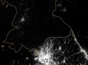 North & South Korea at night