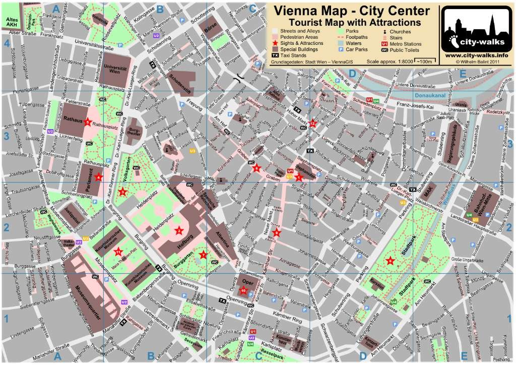Vienna, Map of City Center