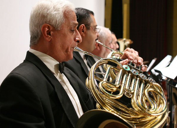 Horn section from Iraqi symphony, photo by Michael T. Luongo