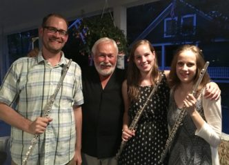 Jim Walker with student flutists