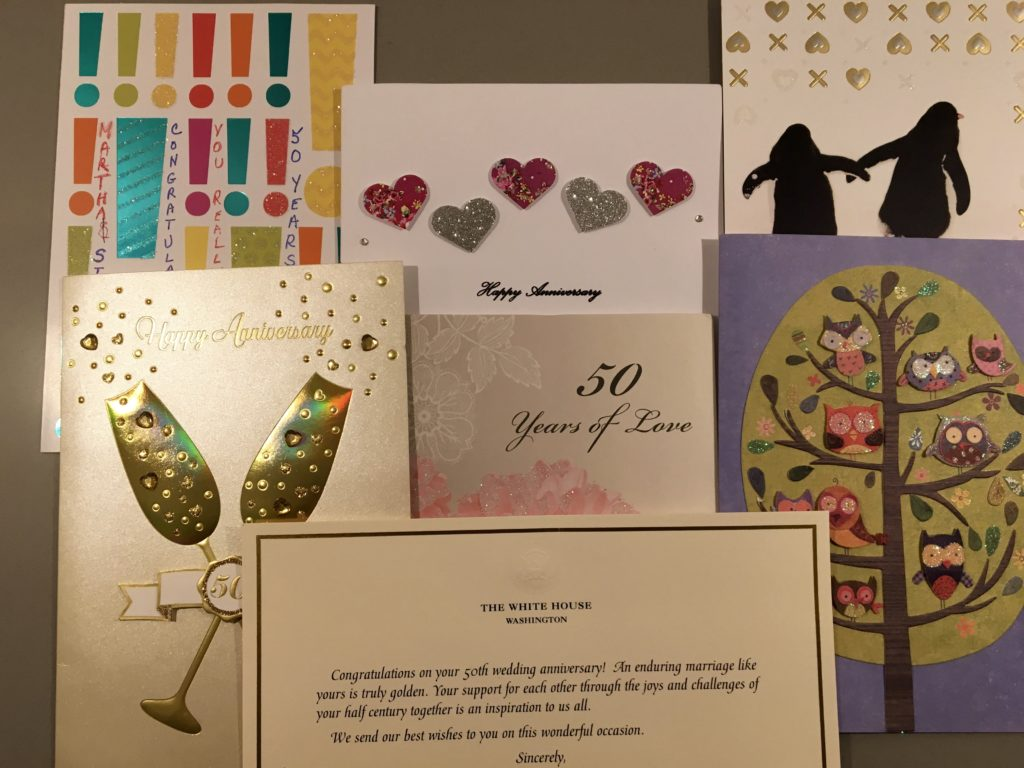 50th Anniversary cards, including one from the White House